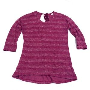Maison Jules high low berry pink 3/4 sleeve top